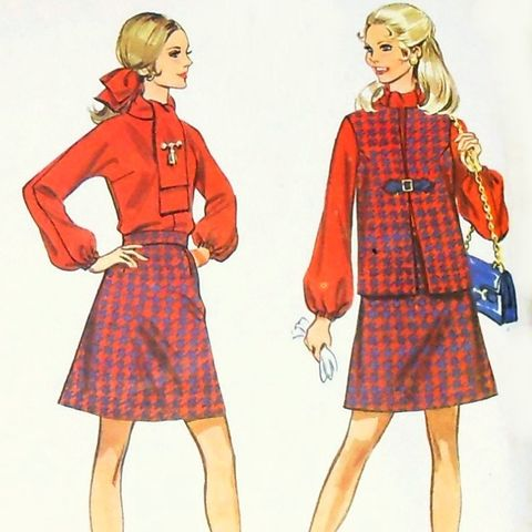 Sleeveless,Jacket,1960s,Pattern,Separates.,Blouse,Aline,Skirt.,sewinghappyplace, Sewing Pattern, Vintage