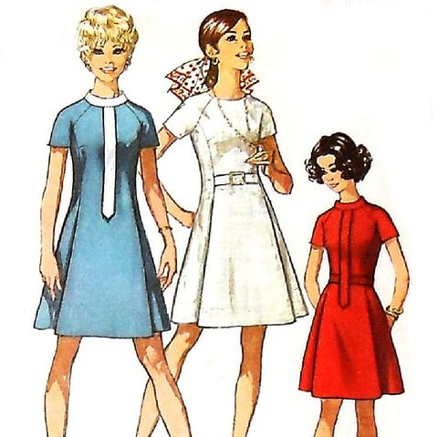A,line,Dress,Neckline,Detail,1960s,Pattern.,Tab,Front.,Stand,up,Collar.,sewinghappyplace, Sewing Pattern, Vintage