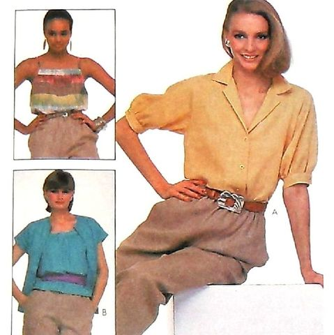 Easy,fitting,Blouse,1980s,Pattern.,Loose,fit,Cami,w,Yoke,Band.,sewinghappyplace, Sewing Pattern, Vintage