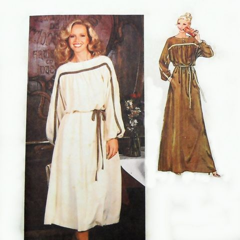 Long,Dress,Flowy,Romantic.,1970s,Pattern.,Dolman,Sleeves,Contrast.,sewinghappyplace, Sewing Pattern, Vintage