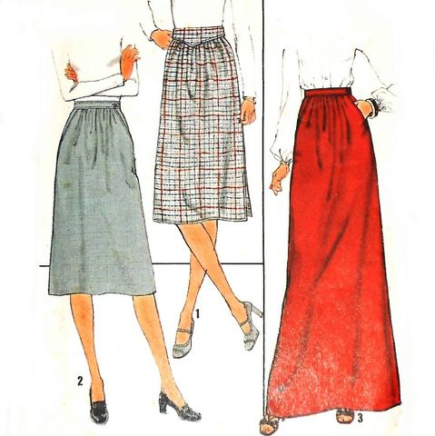 Skirts,w,Waistband,Interest,1970s,Pattern.,Street,or,Evening,Length.,sewinghappyplace, Sewing Pattern, Vintage