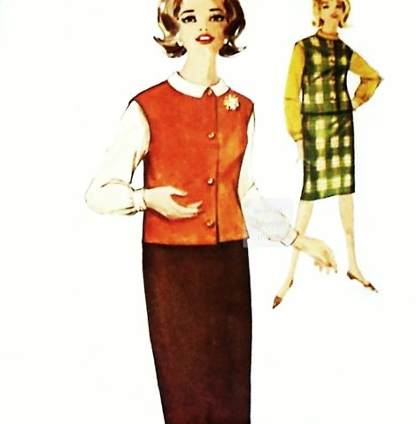 Skirt,Blouse,Vest,1960s,Pattern.,Mad,Men,era,Secretary.,Sleeveless,Jacket,sewinghappyplace, Sewing Pattern, Vintage