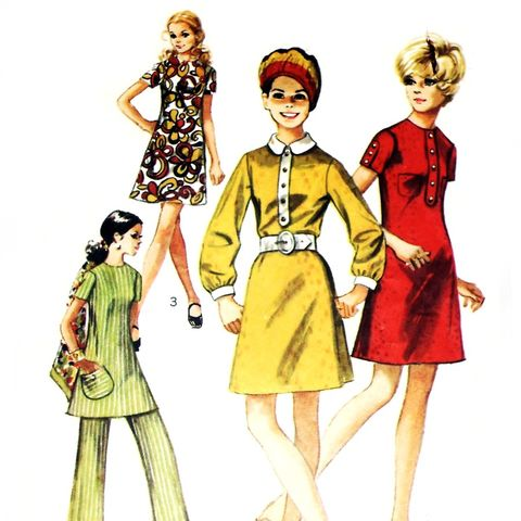 Mod,Aline,Dress,or,Tunic,Top,1960s,Pattern.,Wide,Leg,Pants.,Contrast,sewinghappyplace, Sewing Pattern, Vintage