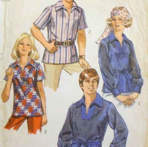 Misses,Retro,Pullover,Shirt,1970s,Pattern.,Mod,Groovy,Wide,Collar.,sewinghappyplace, Sewing Pattern, Vintage