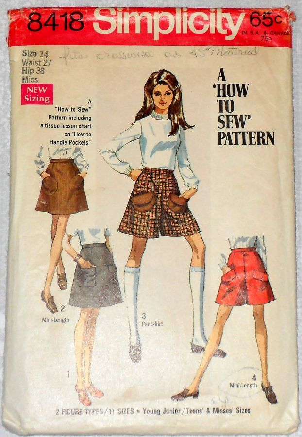 Culottes Miniskirt Mini Pantskirt 1960s Pattern. Pocket Detail. Skort. - product images  of