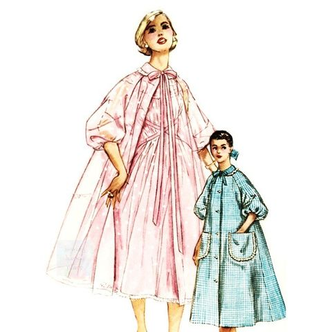 Lovely,Bouffant,Brunch,Coat,Robe,1950s,Pattern,Full,Flare,Fit,TLC,sewinghappyplace, Sewing Pattern, Vintage