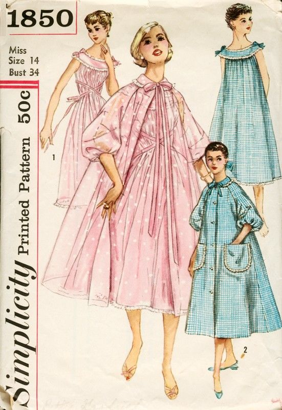 Lovely Bouffant Brunch Coat Robe 1950s Pattern Full Flare Fit TLC - product images  of