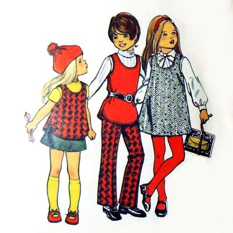 Schoolgirl,Separates,1970s,Pattern.,Girls,Jumper,Top,Pants,Skirt.,sewinghappyplace, Sewing Pattern, Vintage