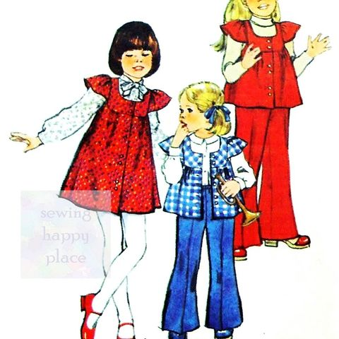 Toddler,Jumper,Top,Pants,1970s,Pattern.,Cute,Smock,Top.,Bellbottoms.,sewinghappyplace, Sewing Pattern, Vintage