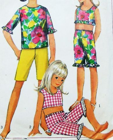Girls,Playclothes,60s,Pattern.,Shorts,Pants.,Midriff,Ruffle,Top.,sewinghappyplace, Sewing Pattern, Vintage