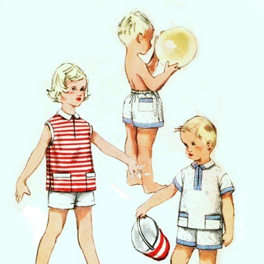 Toddler Shorts Shirt 1950s Pattern. Unisex. Beach Pool Playclothes. - product images  of