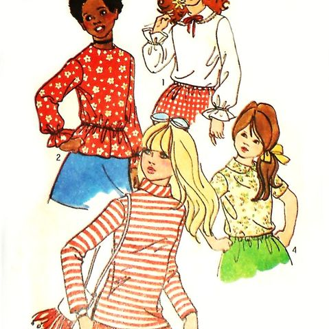 Girls,Pullover,Blouses,1970s,Pattern.,Ruffles.,Peter,Pan,Collar.,sewinghappyplace, Sewing Pattern, Vintage