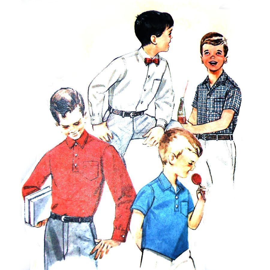 Boys Sport or Dress Shirt 1960s Pattern. Long or Short Sleeves. - product images  of