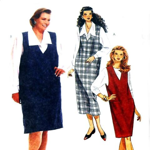 Shift,Jumper,w,Deep,V,Neckline,1990s,Pattern.,Blouse.,Plus,sz.,Uncut,sewinghappyplace, Sewing Pattern, Vintage