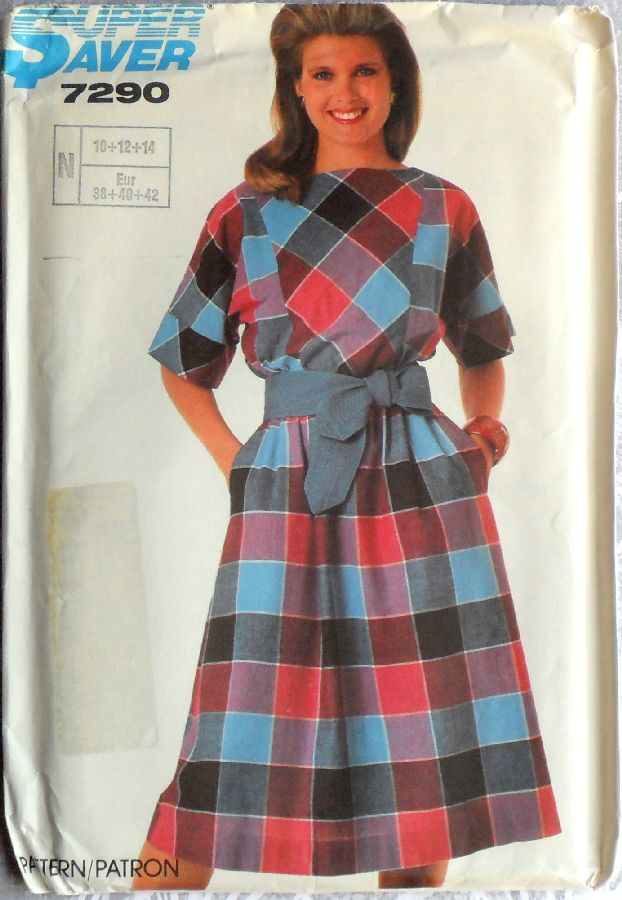 Pullover Dress w Bias Bodice Inset. 1980s Pattern. Kimono Sleeves. - product images  of