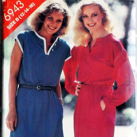 Pullover,TEE,Tshirt,type,Dress/,1980s,Pattern/,Hem,Slit/,Contrast,Trim,sewinghappyplace, Sewing Pattern, Vintage