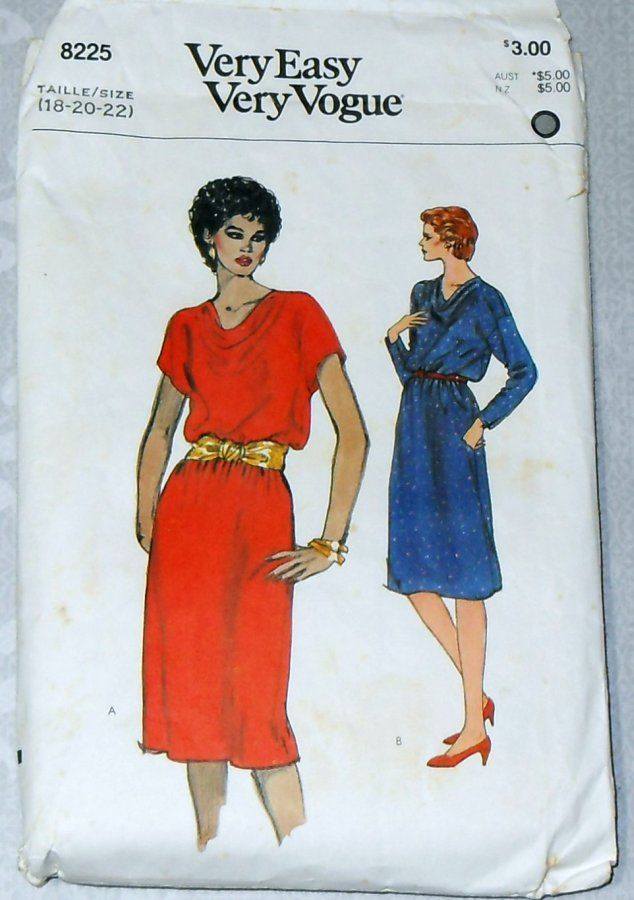 Cowl Neck Pullover Dress. 70s Pattern. Long or Cap Kimono Sleeves. B40 - product images  of