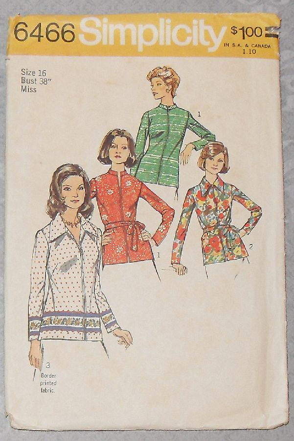 Zip Front Top Blouse/ 1970s Pattern/ Suitable for Border Prints B38 - product images  of