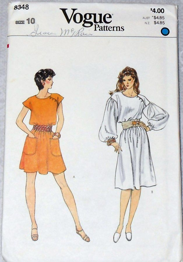 Loose Flowy Dress/ 1980s Pattern/ Dramatic Sleeves/ Mini or Knee Length - product images  of