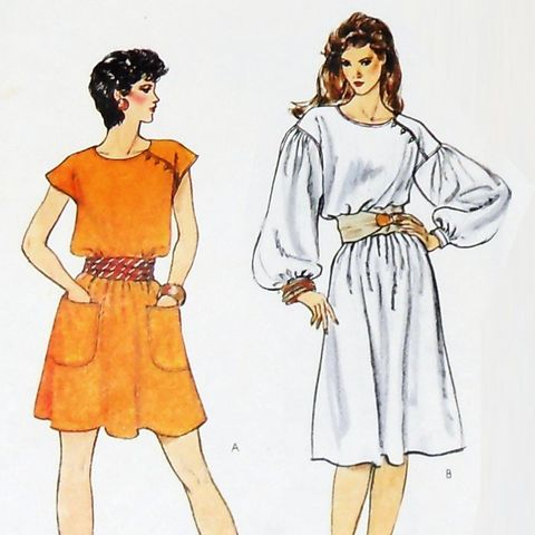 Loose,Flowy,Dress/,1980s,Pattern/,Dramatic,Sleeves/,Mini,or,Knee,Length,sewinghappyplace, Sewing Pattern, Vintage