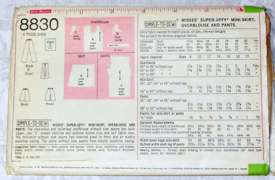 Summer Separates/ 1970s Pattern/ Top Pants Mini Skirt/ Uncut FF - product images  of