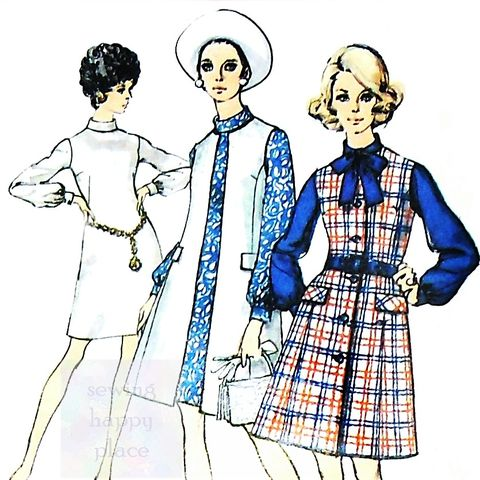 Sleeveless,Coat,Duster/,70s,Pattern/,Dress/,Bow,Neck/,Bishop,Sleeves,sewinghappyplace, Sewing Pattern, Vintage