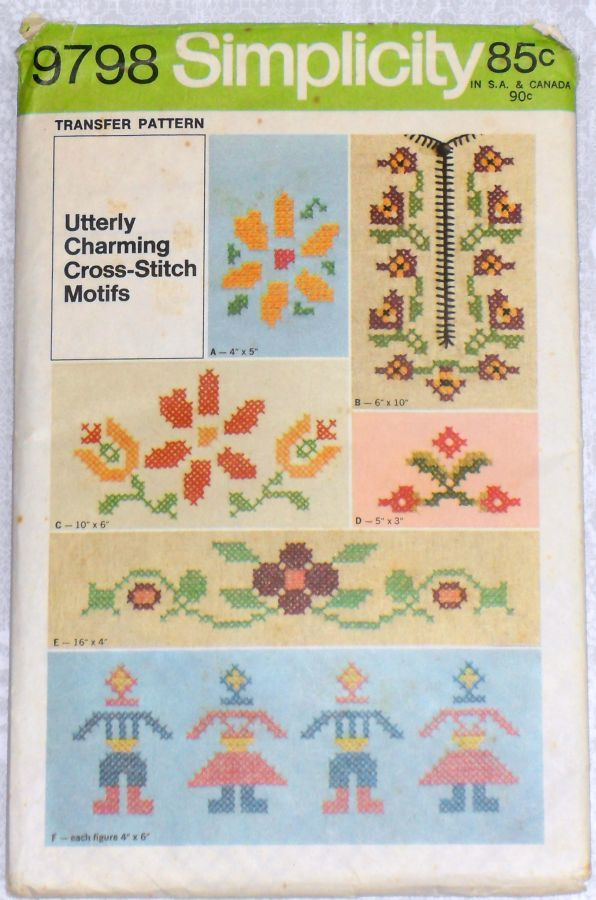 Floral Cross Stitch Transfer Pattern/ 1970s Pattern/ Prim Boy Girl - product images  of