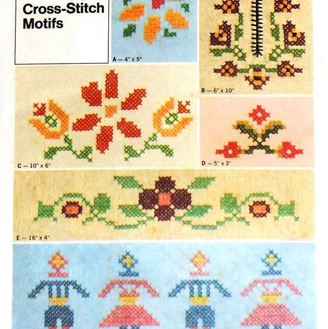 Floral,Cross,Stitch,Transfer,Pattern/,1970s,Prim,Boy,Girl,sewinghappyplace, Sewing Pattern, Vintage
