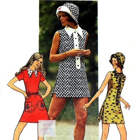 Mod,Mini,Dress,with,Lined,Brim,Hat,1970s,Pattern.,Short,Shorts.,Hot,Pants.,sewinghappyplace, Sewing Pattern, Vintage