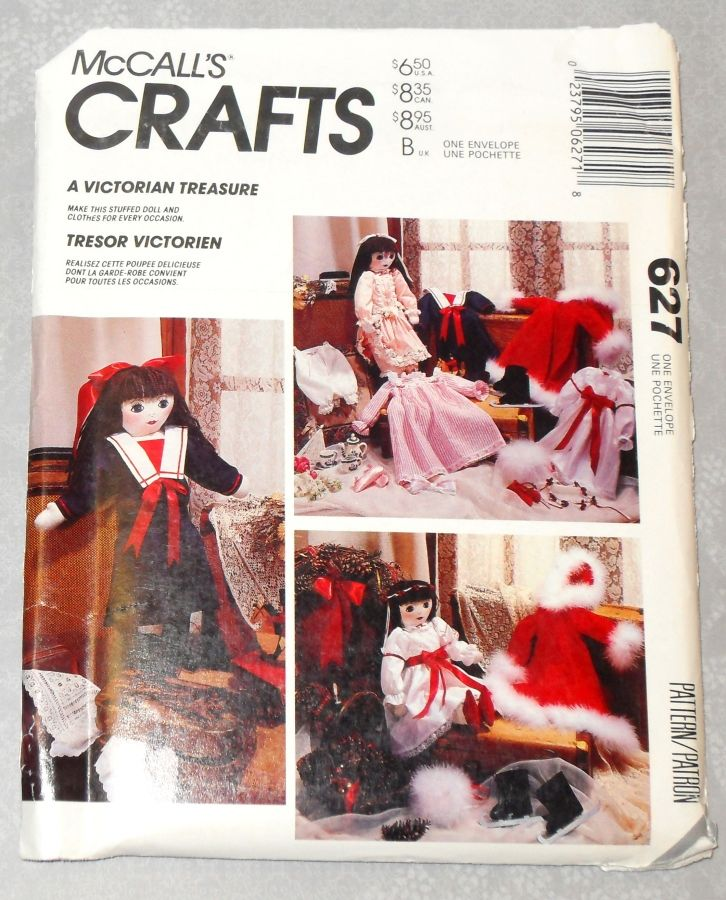 Victorian Doll and Clothes 1980s Craft Pattern. 3 Dresses. Outer wear. Sleepwear and Teddy Bear. - product images  of