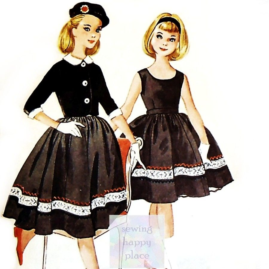 Girls Sleeveless Dress and Jacket 1950s Vintage Pattern Helen Lee - product images  of