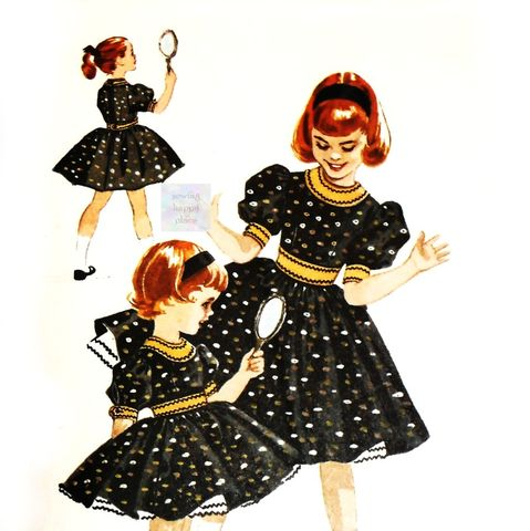 Girls,Dress,w,Puff,Sleeves,,Vintage,1950s,Pattern,Helen,Lee,Circle,Cut,Petticoat.,sewinghappyplace, Sewing Pattern, Vintage