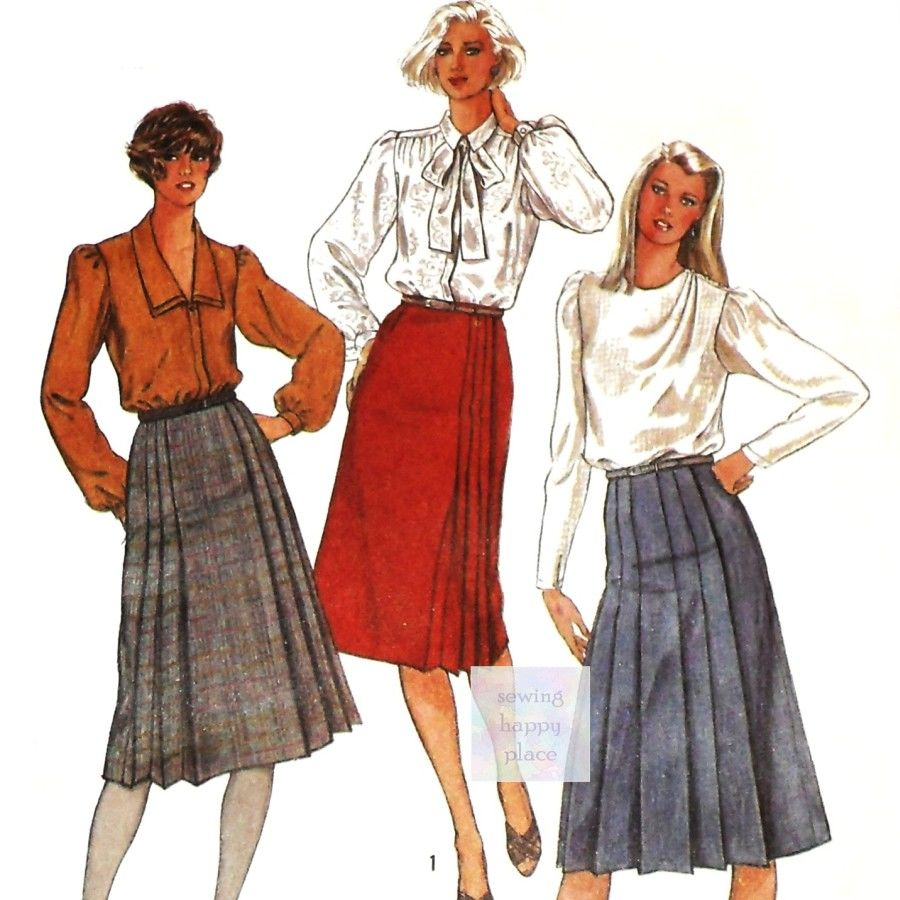 Front Wrap Skirts 1980s Pattern. 3 Pleat Options. Dressy Office Wear. - product images  of