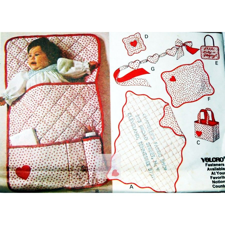 Baby Quilt + Accessories w Embroidery.  1970s Craft Pattern. Baby Sleep Sign. McCalls 6191. - product images  of