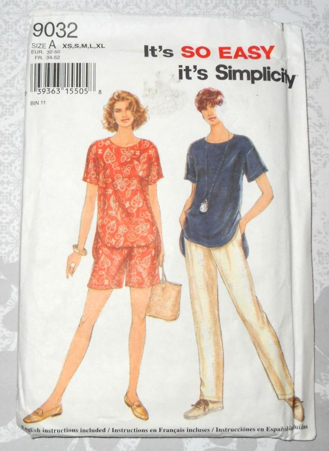 Casual Vacation Clothes. Relax Fit Top Pants Shorts. Simplicity 9032.  - product images  of