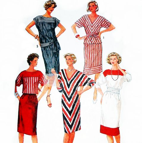 Sheath,Dress,,2,pc,Dress,80s,Pattern.,V,or,Bateau,Neckline.,Dolman,Sleeves.,Simplicity,6745,sewinghappyplace, Sewing Pattern, Vintage