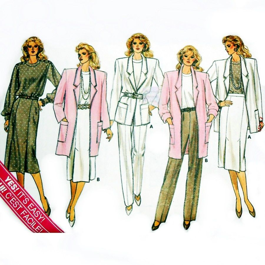80s Big Shoulder Silhouette Suit Separates Pattern. Jacket Skirt Top Pants. Butterick 3987 - product images  of