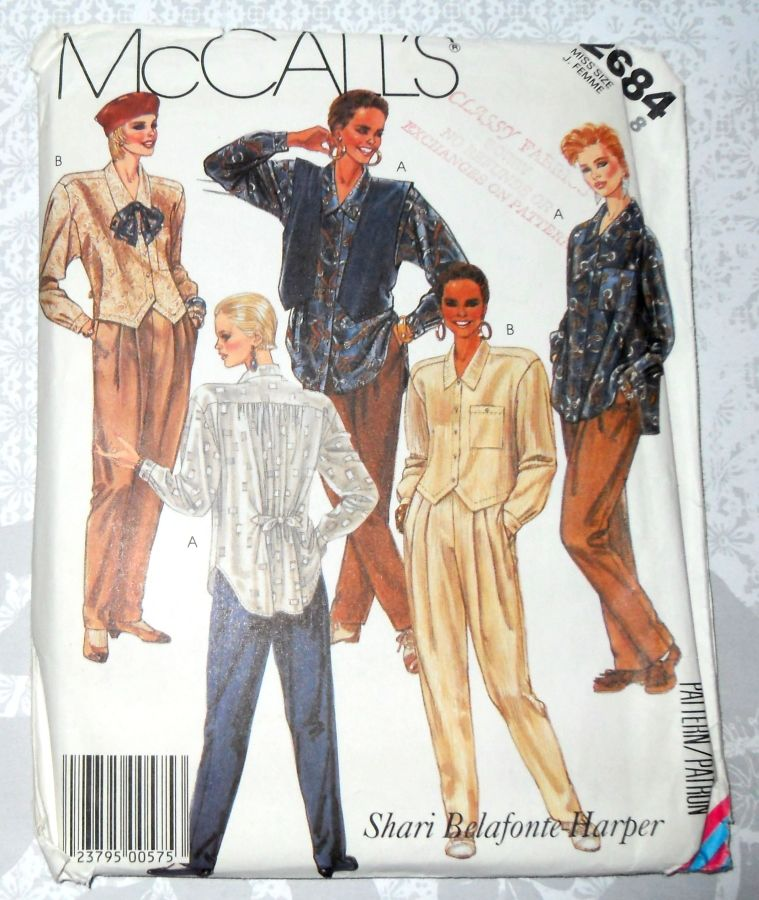 Fun Funky Big Shirt, Vest, Hammer Pants 80s Pattern. Designer Belafonte. McCall's 2684 - product images  of