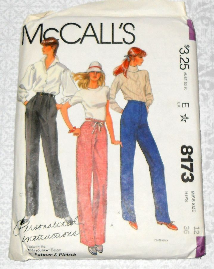 Palmer Pletsch Pants Trousers. 80s Pattern. Pleated, Flat Front. Gingham Fitting Shell. McCalls 8173. - product images  of