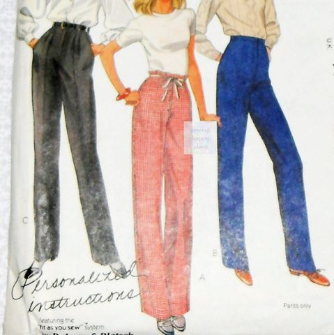 Palmer,Pletsch,Pants,Trousers.,80s,Pattern.,Pleated,,Flat,Front.,Gingham,Fitting,Shell.,McCalls,8173.,sewinghappyplace, Sewing Pattern, Vintage