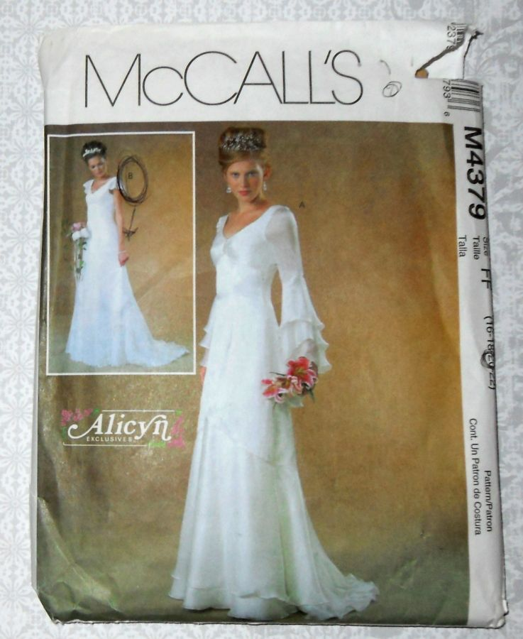Bridal Gown Sewing Pattern. Plus Size. Cascade Sleeves and Hem. Romantic Wedding. McCalls 4379 - product images  of