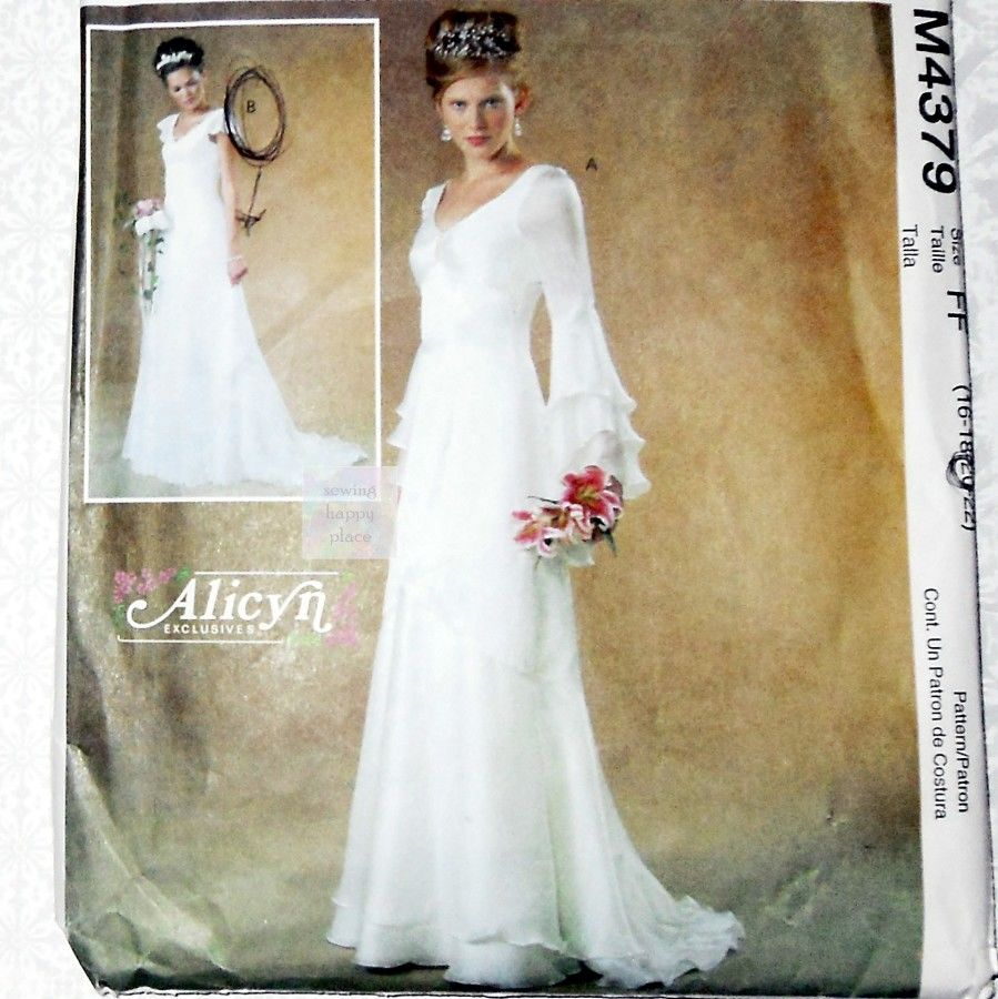 Bridal gown sewing pattern plus size cascade sleeves and for Wedding dress patterns plus size