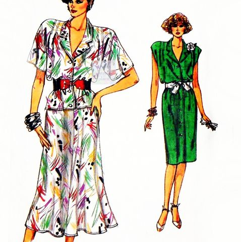 Relaxed,Fit,Shirtdress,80s,Pattern.,Top,Skirt.,Drop,Shoulder,Sleeves.,Dressy,Office,Wear.,Vogue,9608,sewinghappyplace, Sewing Pattern, Vintage