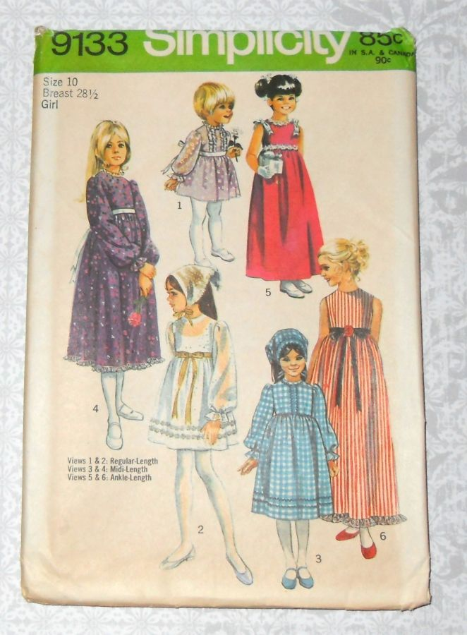 Girls Empire Waist Prairie Dress 70s Pattern. Wedding, Boho Flower Girl. Simplicity 9133 - product images  of