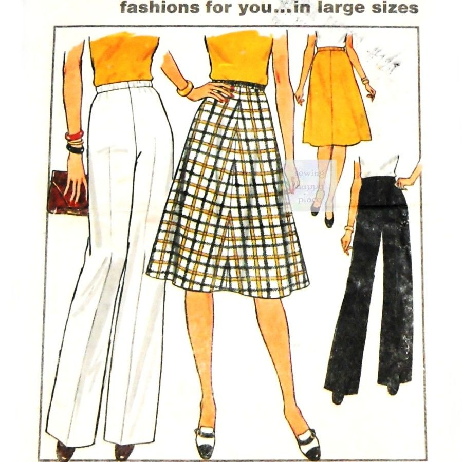 Classic Separates 70s Pattern. Aline Skirt, Wide Leg Pants. Plus Size. Simplicity 7899 - product images  of