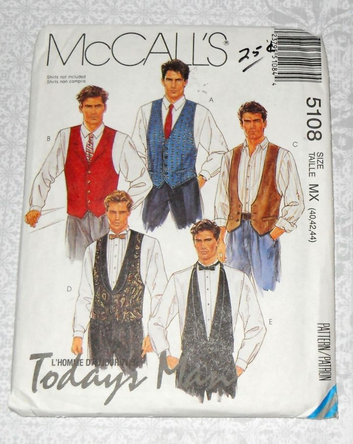 Mens Vests, Necktie, Bow Tie 90s Pattern. Dressy, Special Occasion. McCalls 5108 - product images  of