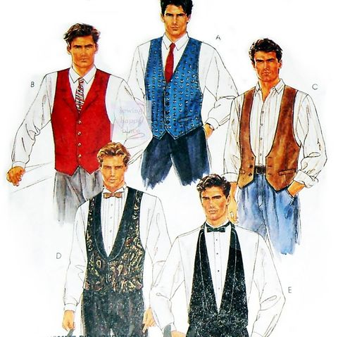Mens,Vests,,Necktie,,Bow,Tie,90s,Pattern.,Dressy,,Special,Occasion.,McCalls,5108,sewinghappyplace, Sewing Pattern, Vintage