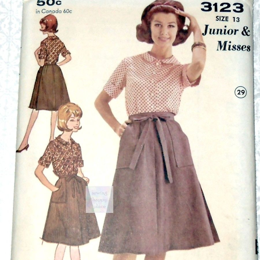 Wrap Skirt and Blouse. Preppy 60s Pattern.  Johnny collar. Teen Juniors. Advance 3123 - product images  of