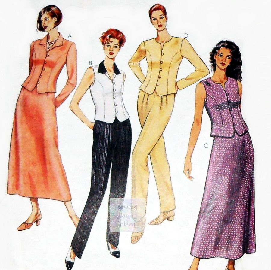 Misses Dressy Suit Separates 90s Pattern. Tops w Princess Seams, Pants, Skirt. McCall's 8642 - product images  of