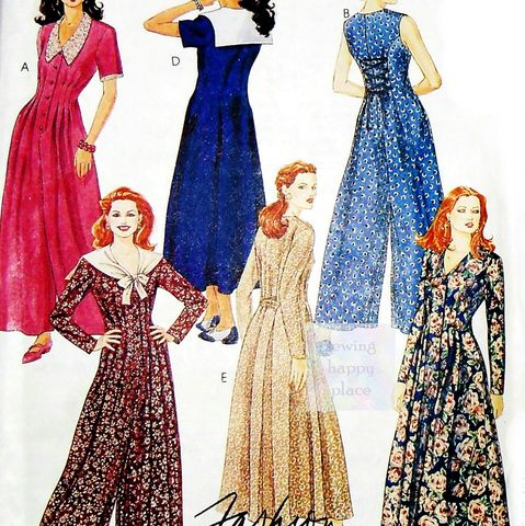 Dramatic,Fitted,Jumpsuit,or,Dress.,90s,Pattern.,V,Neckline.,Lacing,in,Back.,sewinghappyplace, Sewing Pattern, Vintage